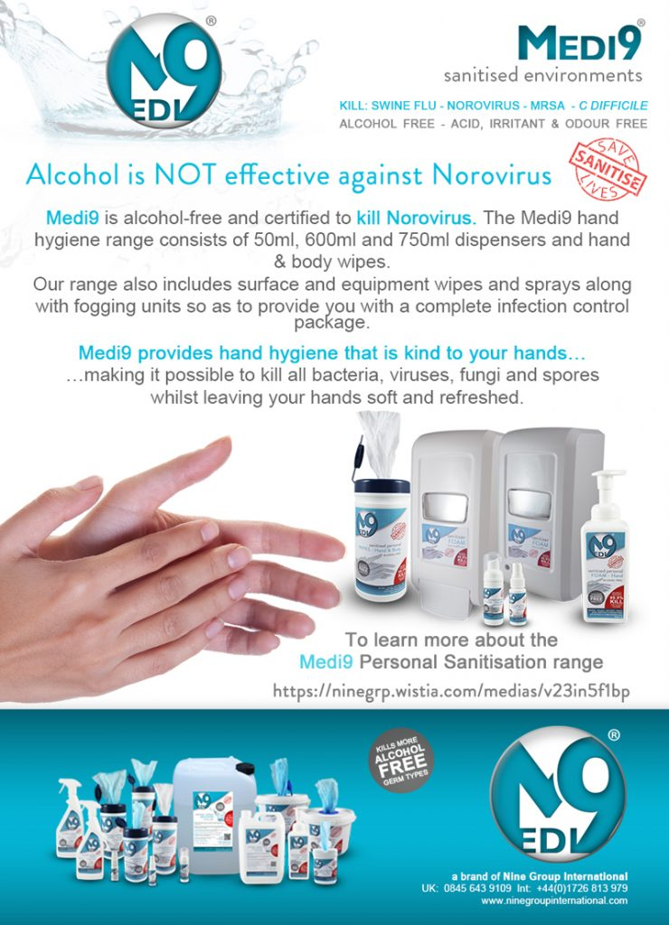 Alcohol is not effective against Norovirus for website News, Blog - May 2017 medi 9 nine group international