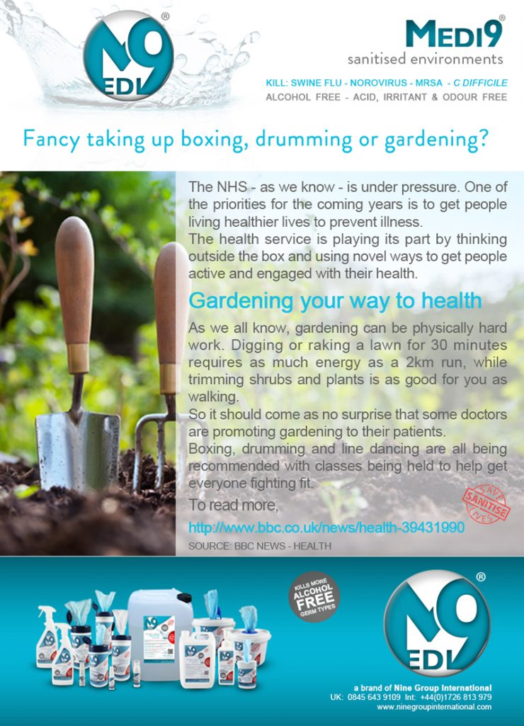 Fancy taking up boxing, drumming and gardening NEWS - April 2017 medi 9 nine group international